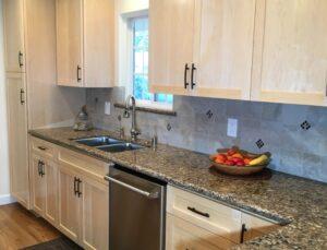 natural maple cabinets, shaker doors, quartz counter top, tile backsplash, oak floors, San Jose